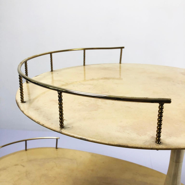 Brass Aldo Tura Goatskin Bar Cart For Sale