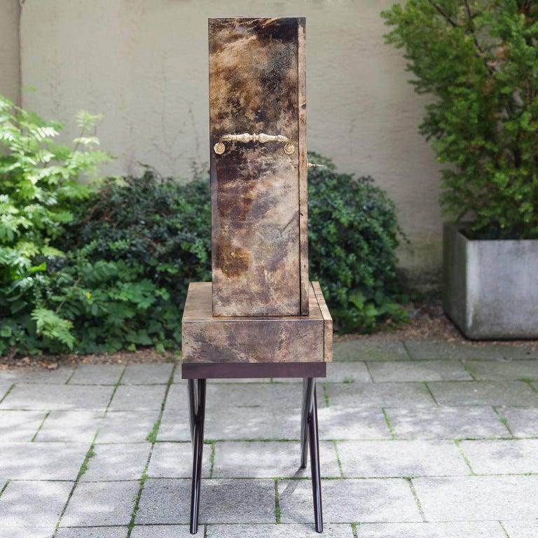 Italian Aldo Tura Goatskin Books Bar Cabinet For Sale