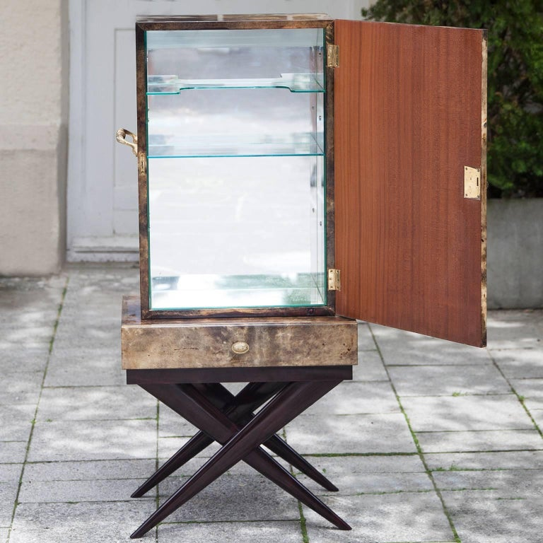 Aldo Tura Goatskin Books Bar Cabinet For Sale At 1stdibs