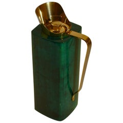 Aldo Tura Goatskin Green Thermos Flask