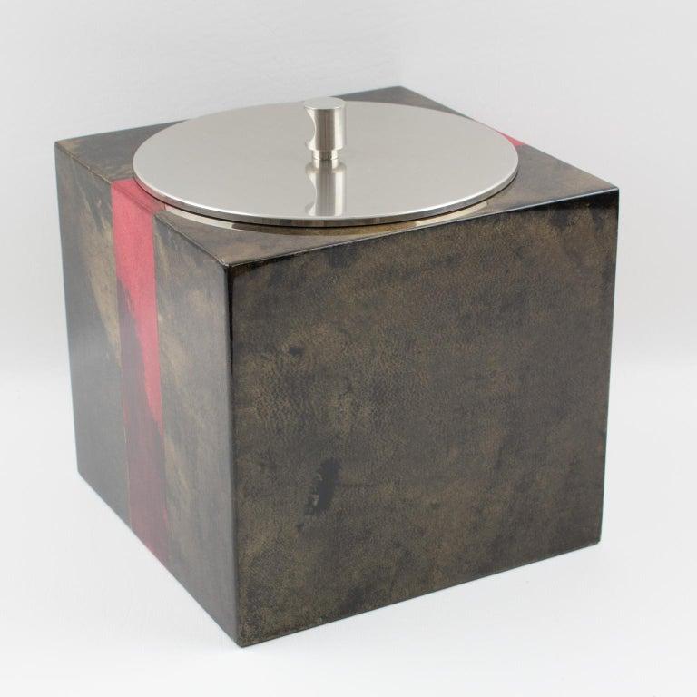 Aldo Tura Goatskin Ice Bucket For Sale 3