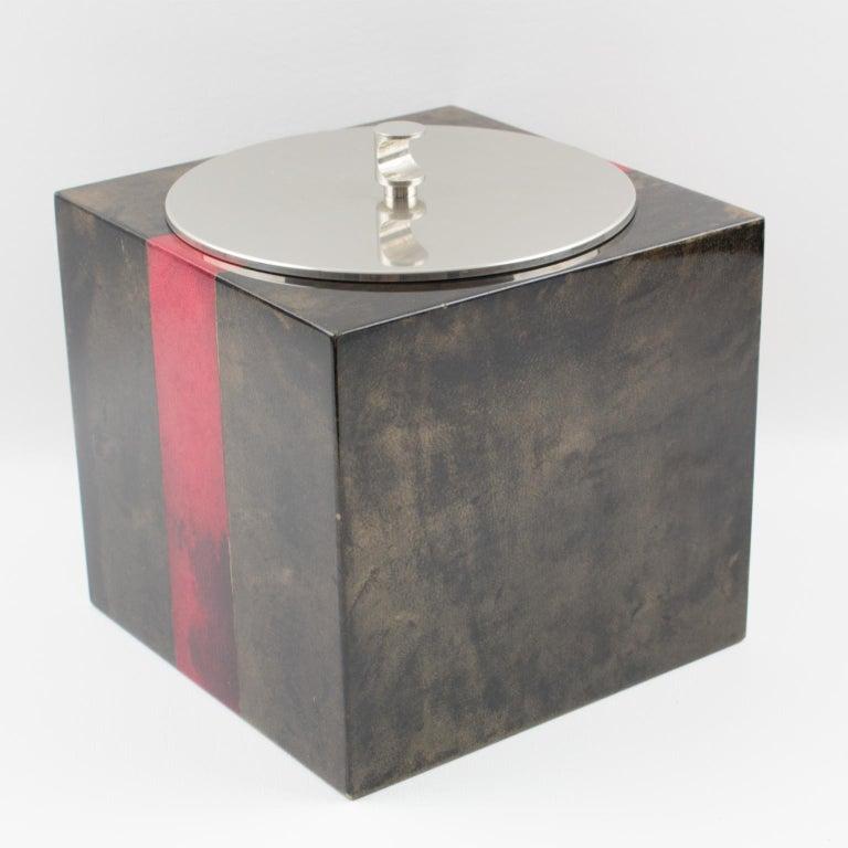 Aldo Tura Goatskin Ice Bucket For Sale 4
