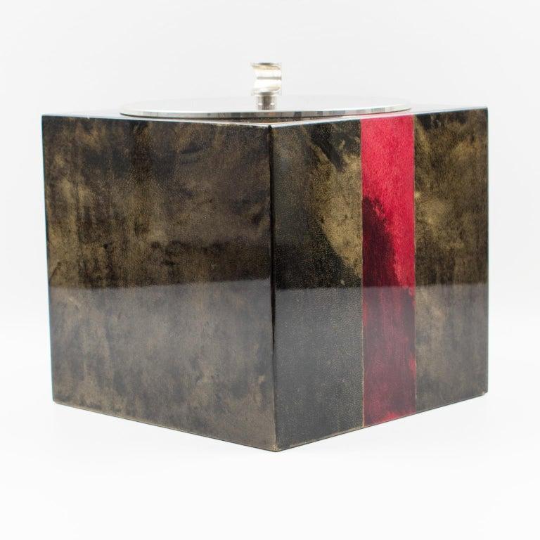 Aldo Tura Goatskin Ice Bucket For Sale 5