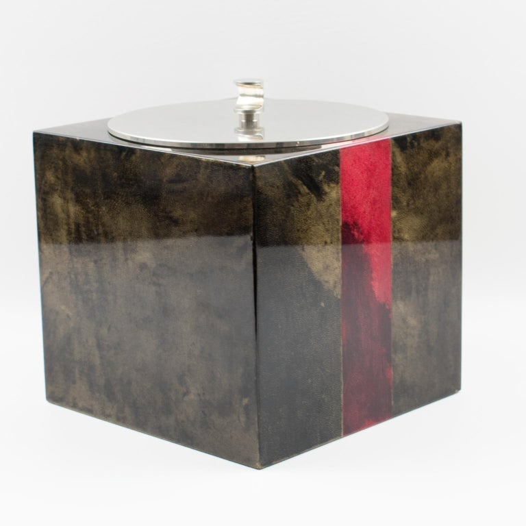 Aldo Tura Goatskin Ice Bucket For Sale 6