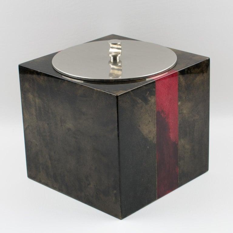 Aldo Tura Goatskin Ice Bucket For Sale 7
