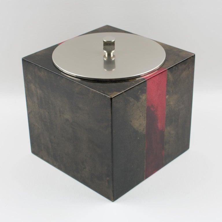 Mid-Century Modern Aldo Tura Goatskin Ice Bucket For Sale