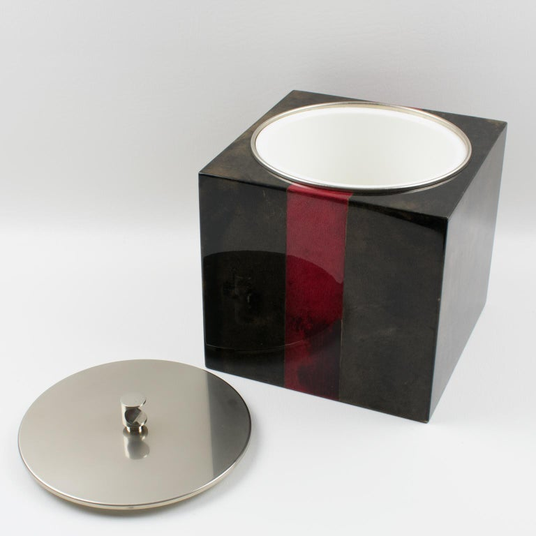 Italian Aldo Tura Goatskin Ice Bucket For Sale