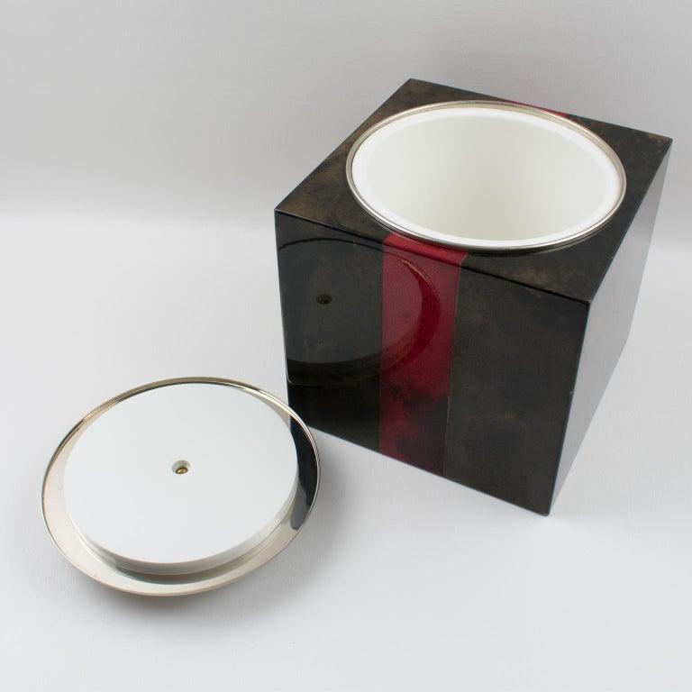 Aldo Tura Goatskin Ice Bucket In Good Condition For Sale In Atlanta, GA