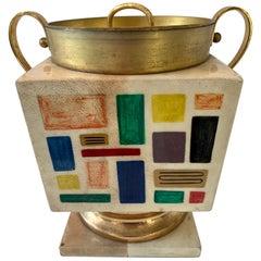 Aldo Tura Goatskin Ice Bucket or Urn with Patchwork Pattern
