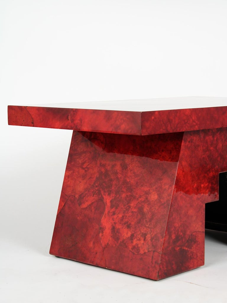 Dyed Aldo Tura Goatskin Lacquered Side Table For Sale