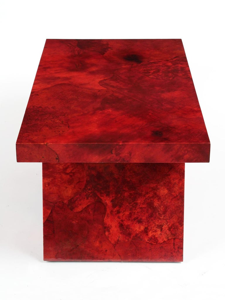 Aldo Tura Goatskin Lacquered Side Table In Good Condition For Sale In Los Angeles, CA