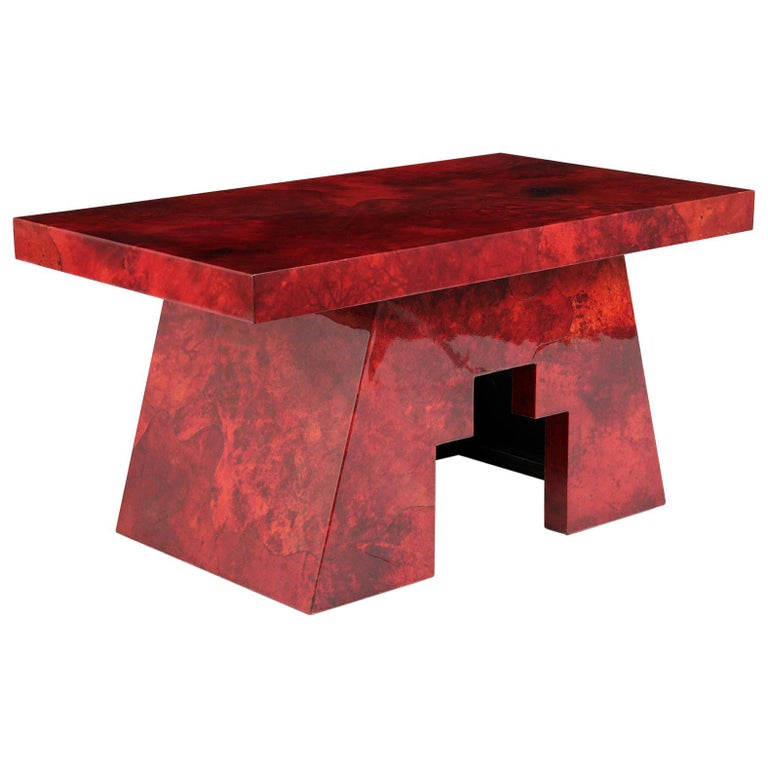 Aldo Tura Goatskin Lacquered Side Table For Sale