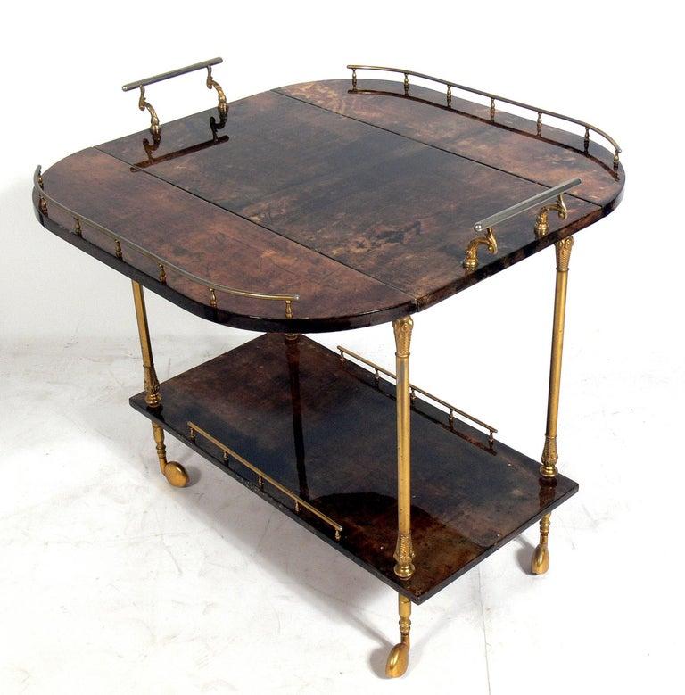Mid-Century Modern Aldo Tura Goatskin or Parchment Bar Cart  For Sale