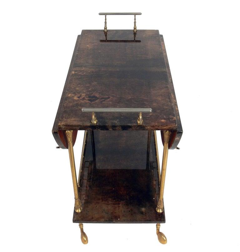 Italian Aldo Tura Goatskin or Parchment Bar Cart  For Sale