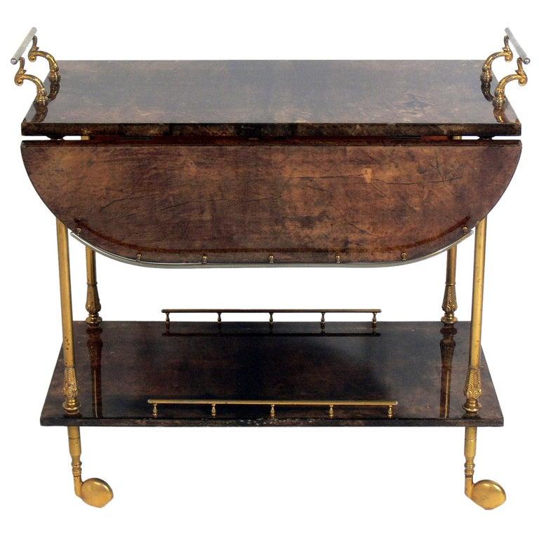 Aldo Tura Goatskin or Parchment Bar Cart  For Sale