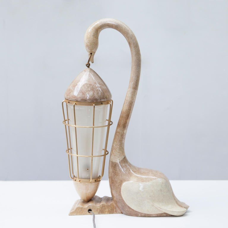 Aldo Tura Goatskin Swan Table Lamp, Italy, 1960 In Excellent Condition For Sale In Munich, DE