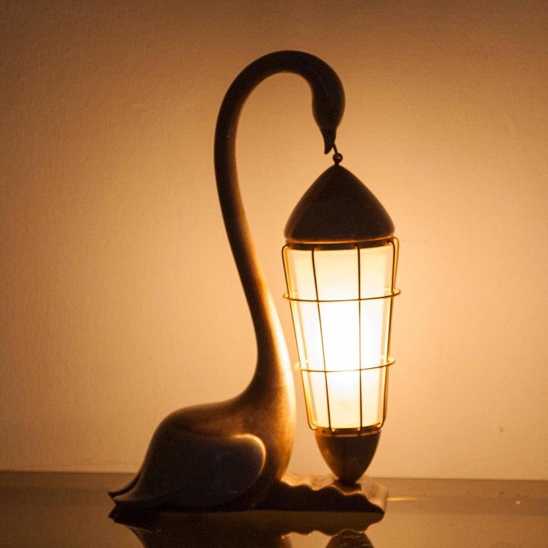 Brass Aldo Tura Goatskin Swan Table Lamp, Italy, 1960 For Sale