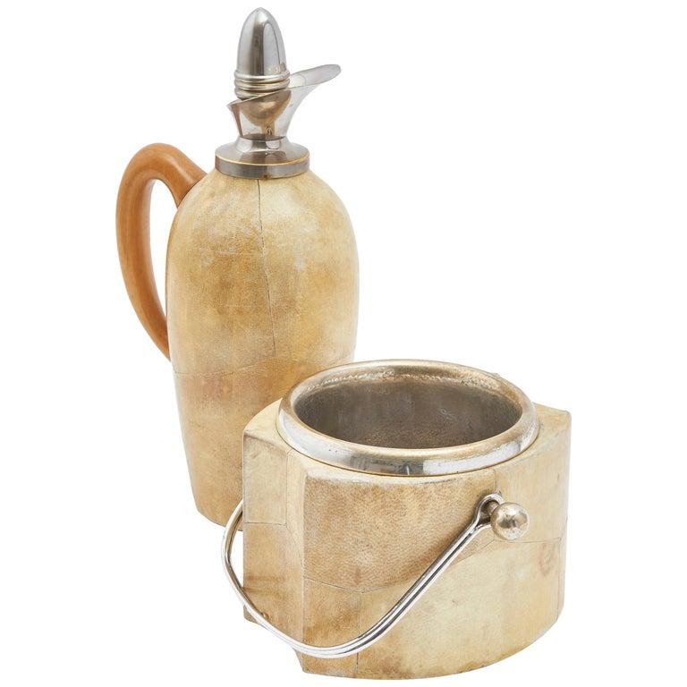 Aldo Tura Goatskin Veneered Thermos and Ice Bucket, Italy, circa 1960 For Sale