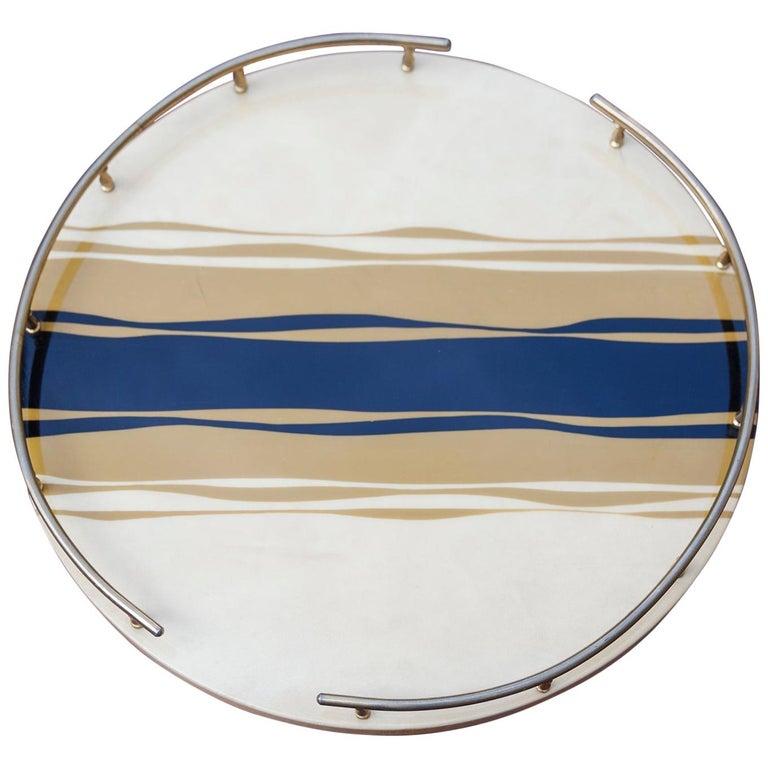Aldo Tura Goatskin Zebra Style Tray For Sale