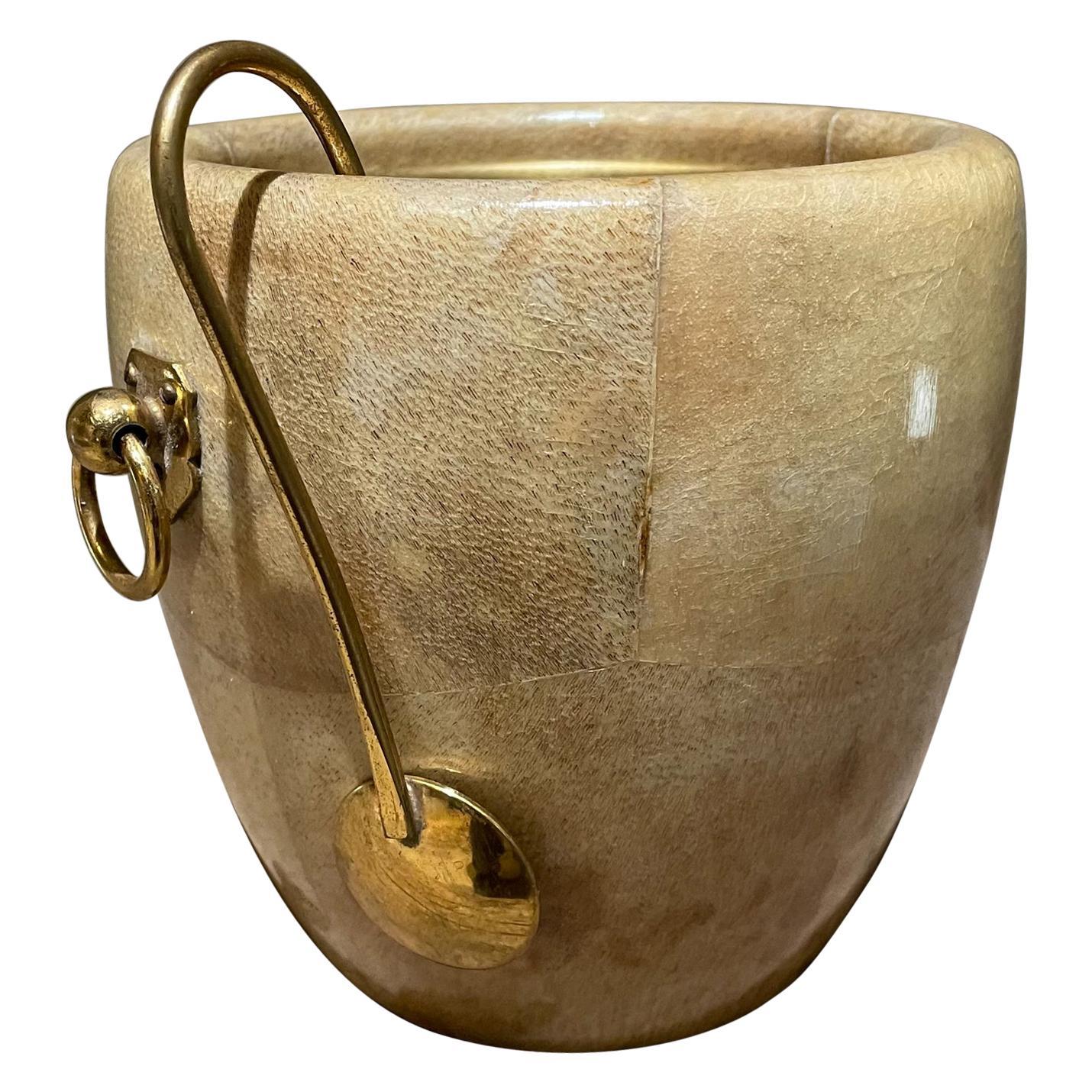 Aldo Tura Golden Goatskin Leather Brass Ice Bucket & Tongs Italy 1950s Milano