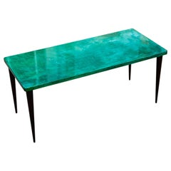 Aldo Tura Green Goatskin Coffee Table