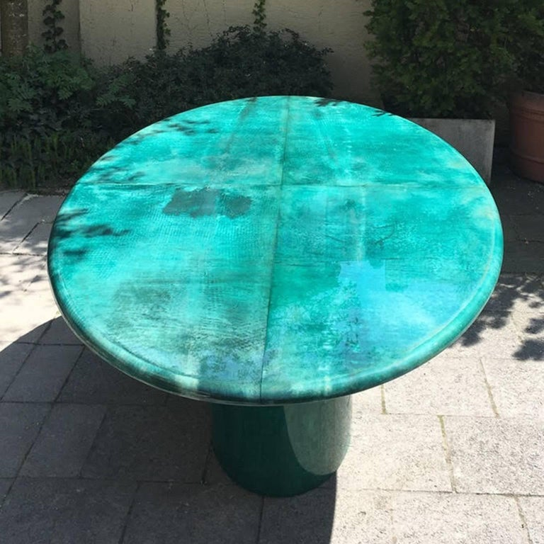 Italian Aldo Tura Green Goatskin Conference Dining Table, 1970 For Sale