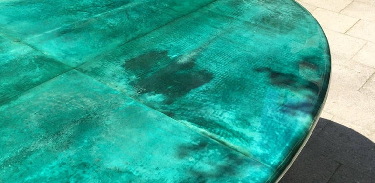 Aldo Tura Green Goatskin Conference Dining Table, 1970 In Excellent Condition For Sale In Munich, DE