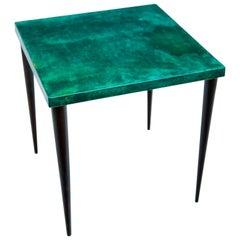 Aldo Tura Green Goatskin Side Table, 1960s