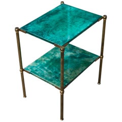 Aldo Tura Green Goatskin Side Table