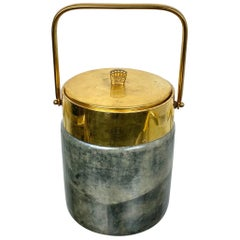 Aldo Tura Ice Bucket in Lacquered Grey Goatskin and Brass, Italy, 1950s
