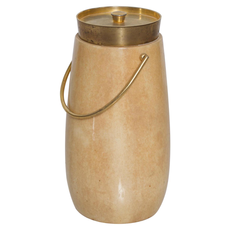 Aldo Tura Ice Champagne Bucket Goatskin Bronze Hardware Mid-Century Modern
