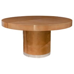 Aldo Tura Italian Midcentury Circular Goatskin Dining Table with Leaves