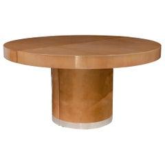 Midcentury Aldo Tura Italian Circular Goatskin Dining Table with Leaves