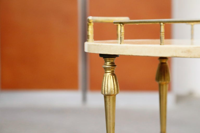 Aldo Tura Lacquered Goatskin and Brass Italian Bar Cart, 1950s Italy, Signed For Sale 8