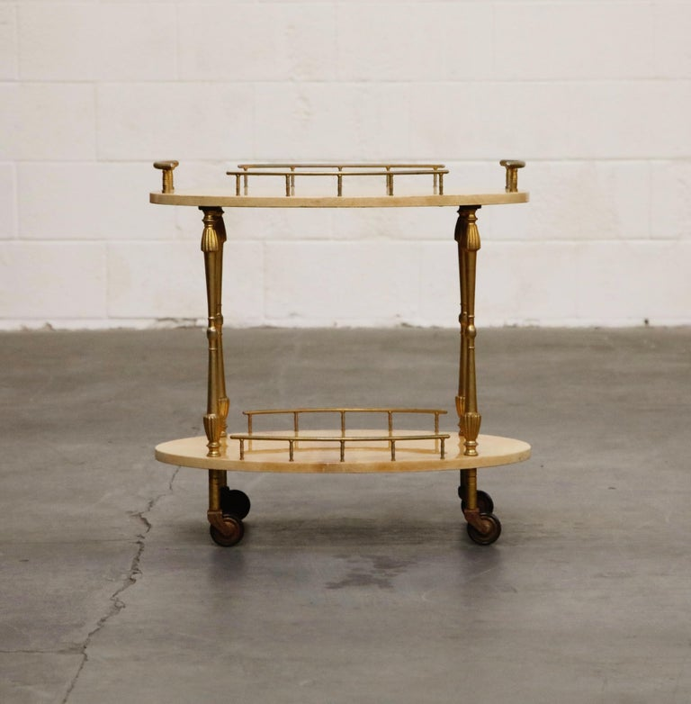 Aldo Tura Lacquered Goatskin and Brass Italian Bar Cart, 1950s Italy, Signed For Sale 9
