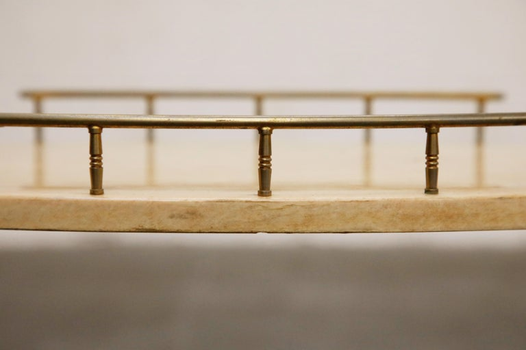 Aldo Tura Lacquered Goatskin and Brass Italian Bar Cart, 1950s Italy, Signed For Sale 10