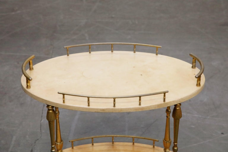 Aldo Tura Lacquered Goatskin and Brass Italian Bar Cart, 1950s Italy, Signed For Sale 11