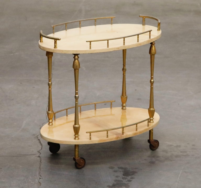 Mid-20th Century Aldo Tura Lacquered Goatskin and Brass Italian Bar Cart, 1950s Italy, Signed For Sale