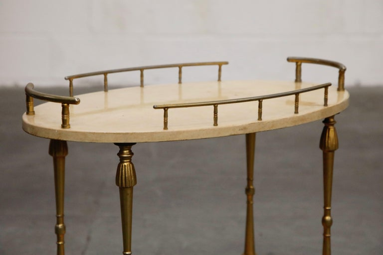 Aldo Tura Lacquered Goatskin and Brass Italian Bar Cart, 1950s Italy, Signed For Sale 1