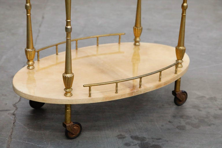 Aldo Tura Lacquered Goatskin and Brass Italian Bar Cart, 1950s Italy, Signed For Sale 2