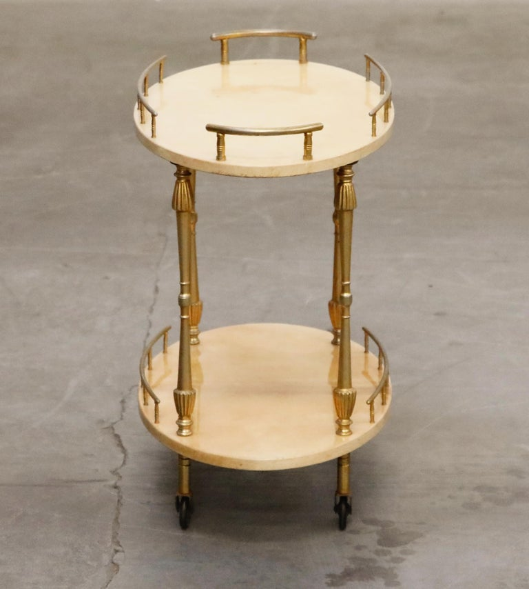 Aldo Tura Lacquered Goatskin and Brass Italian Bar Cart, 1950s Italy, Signed For Sale 3