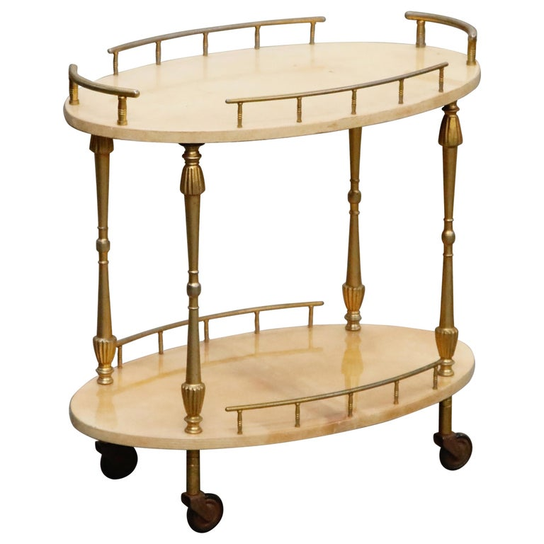 Aldo Tura Lacquered Goatskin and Brass Italian Bar Cart, 1950s Italy, Signed For Sale