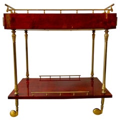 Aldo Tura Lacquered Goatskin and Brass Italian Bar Cart