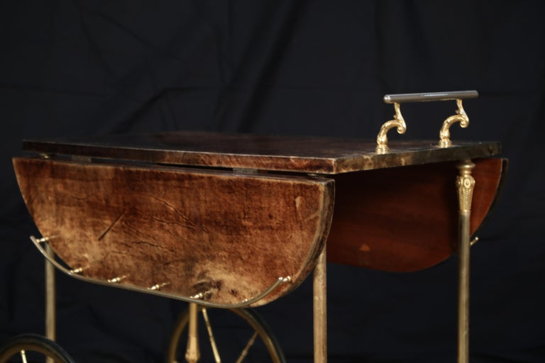 Aldo Tura Lacquered Goatskin and Brass Italian Double Drop-Leaf Bar Cart, Signed For Sale 8
