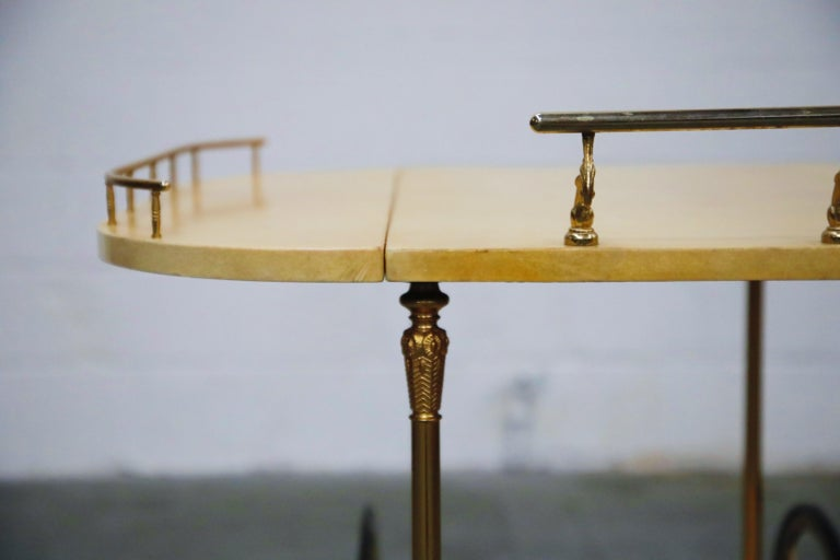 Aldo Tura Lacquered Goatskin and Brass Italian Double Drop-Leaf Bar Cart, Signed For Sale 9