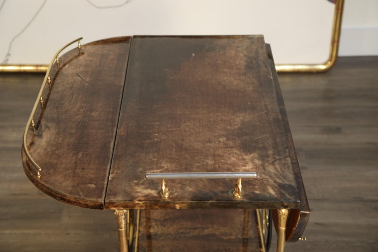 Aldo Tura Lacquered Goatskin and Brass Italian Double Drop-Leaf Bar Cart, Signed For Sale 11