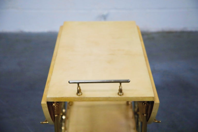 Aldo Tura Lacquered Goatskin and Brass Italian Double Drop-Leaf Bar Cart, Signed For Sale 12