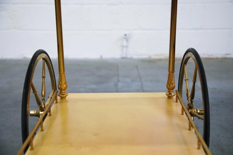 Aldo Tura Lacquered Goatskin and Brass Italian Double Drop-Leaf Bar Cart, Signed For Sale 13