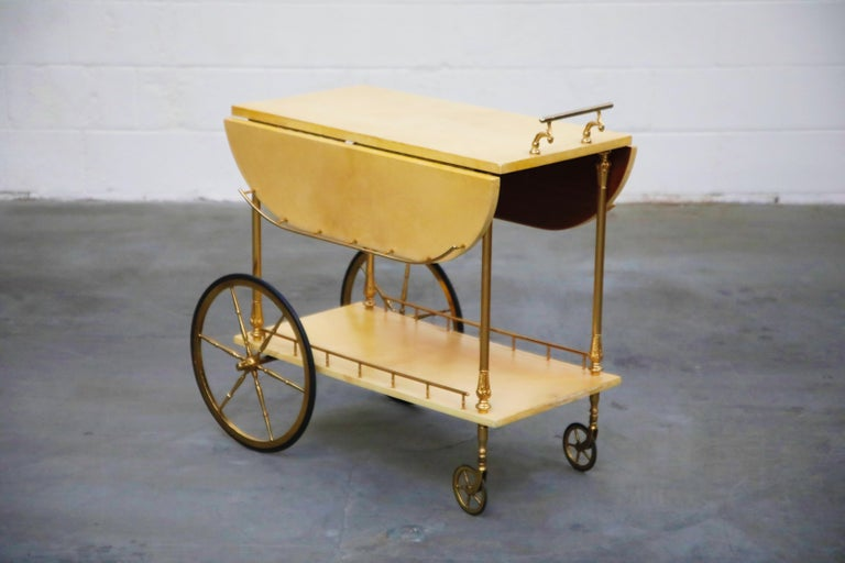 Mid-Century Modern Aldo Tura Lacquered Goatskin and Brass Italian Double Drop-Leaf Bar Cart, Signed For Sale