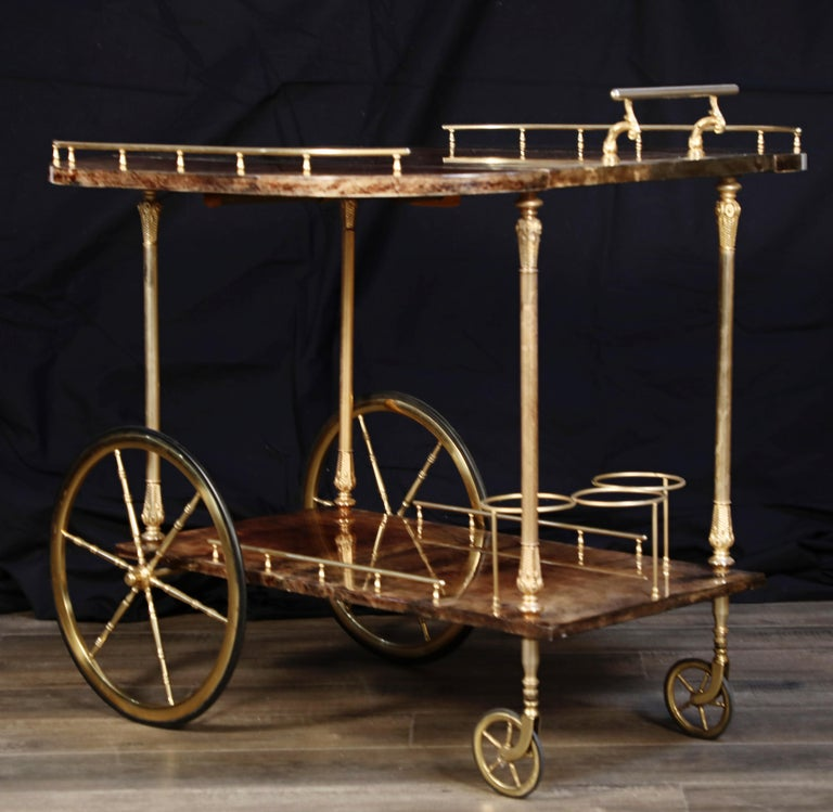 Aldo Tura Lacquered Goatskin and Brass Italian Double Drop-Leaf Bar Cart, Signed In Good Condition For Sale In Los Angeles, CA